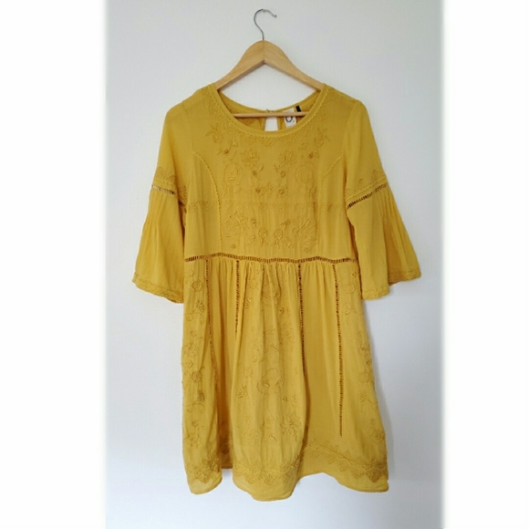 Anthropologie Akemi + Kin Yellow Embroidered Dress